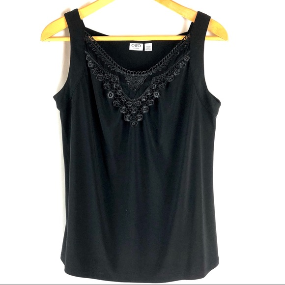 5946b761a471c Cato Tops - Cato Plus Size Black Lace Shell Cami Tank Top